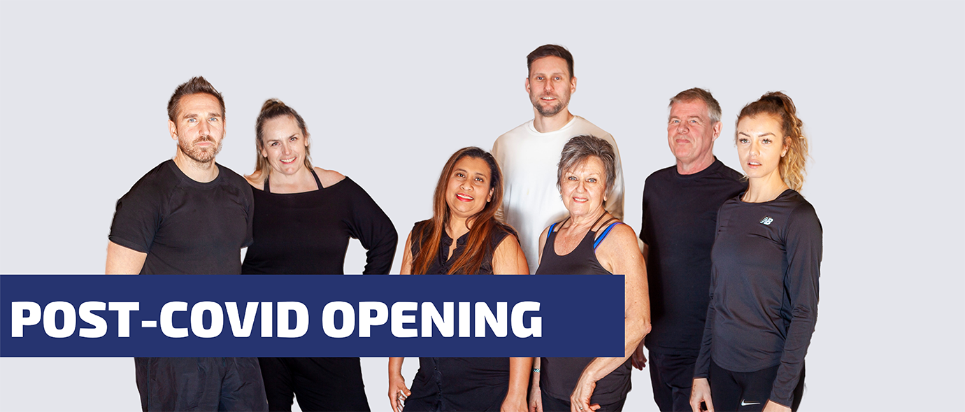 Post-Covid Opening banner with photo of the team